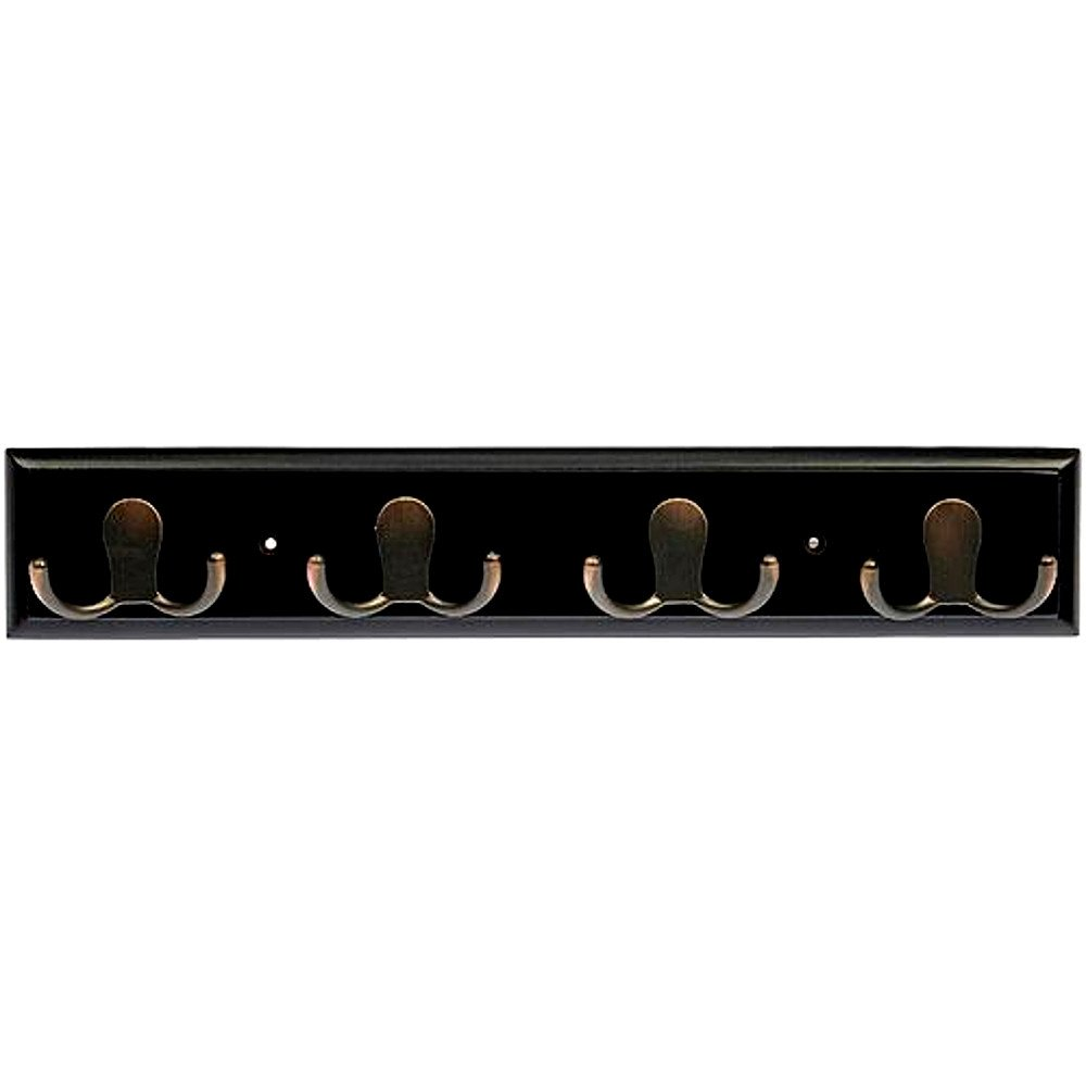 4 Hook Coat Rack Shelf Espresso Hookboard and Bronze Hooks, 16.5'' Coat Hooks & E-Book by center
