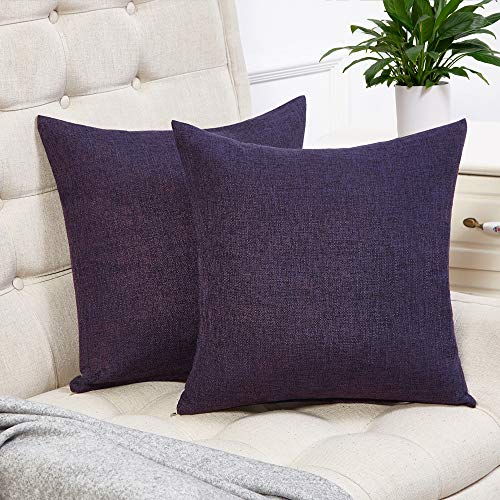 Anickal Set of 2 Purple Pillow Covers Cotton Linen Decorative Square Throw Pillow Covers 18x18 Inch for Sofa Couch Decoration -