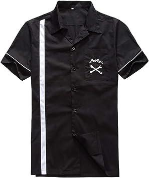 WODENINEK Camisa De Verano Hombres Costura Negra Imprimiendo Retro Estilo Rockabilly Manga Corta Casual Slim Fit Viajes, Senderismo,XL: Amazon.es: Deportes y aire libre