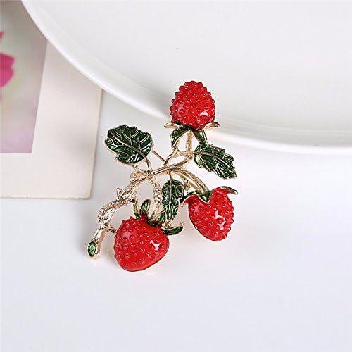 Hacoly Boutique Broches Joyas Pin Disfraz Broche Fresa con Hojas ...