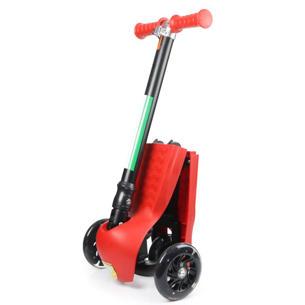 LIWORD Scooter para Niños, Manija del Pedal Plegable, Flash De Tres Ruedas, Manillar Ajustable En Altura,Red