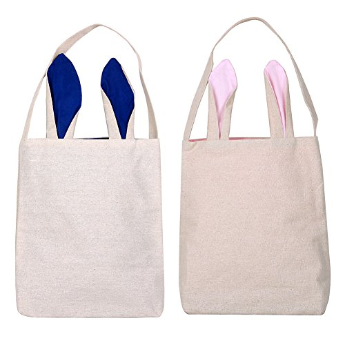 Reusable Woven Easter Bunny Bags Lightweight, Customizable 9.4 x 11.8 x 3.9inch Cloth Bunny Ear Easter Egg Basket Sacks for Boys & Girls (2 PCs - One Pink, One Blue)