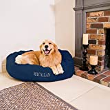 Majestic Pet Personalized Bagel Dog Bed - Machine Washable - Soft Comfortable Sleeping Mat - Durable Supportive Cushion Custom Embroidered - available replacement covers - Small Navy Blue