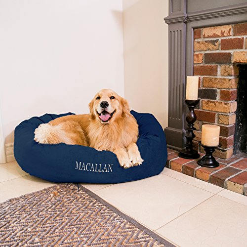 Majestic Pet Personalized Bagel Dog Bed - Machine Washable - Soft Comfortable Sleeping Mat - Durable Supportive Cushion Custom Embroidered - Available Replacement Covers - Large Navy Blue