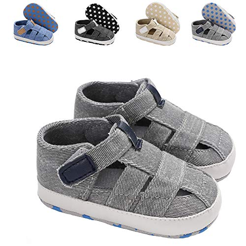 - Meckior Summer Baby Infant Boys Sandals Canvas Soft Sole Non-Slip Closed Toe First Walkers Shoes (0-6 Months, B-Gray)
