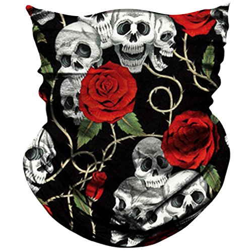 AXBXCX 3D Skull Skeleton Neck Gaiter Face Mask for Motorbike Motorcycle Cycling Riding Hiking Hunting Fishing Skateboard Powersports Cosplay Halloween Party Music Festivals Raves Tube Face Mask -