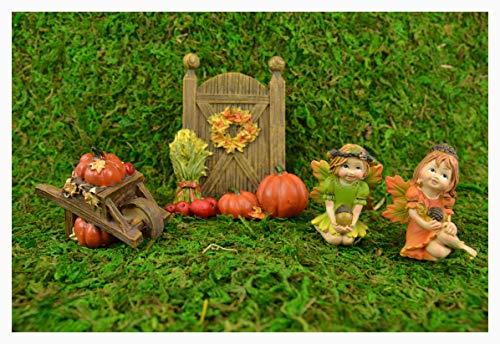 Clever Home Fall Harvest Pumpkin Patch Fairy Garden 4 Piece Set