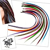 Sunwell Feather Hair Extensions Kit with 26/39/52 Pcs Synthetic Feathers, 50 Beads, Pliers and Hook Tool
