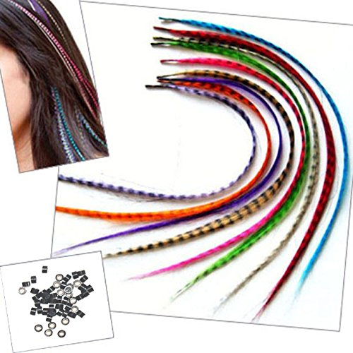 Sunwell Feather Hair Extension Kit with 39 Synthetic Feathers, 40 Beads, Pliers and Hook
