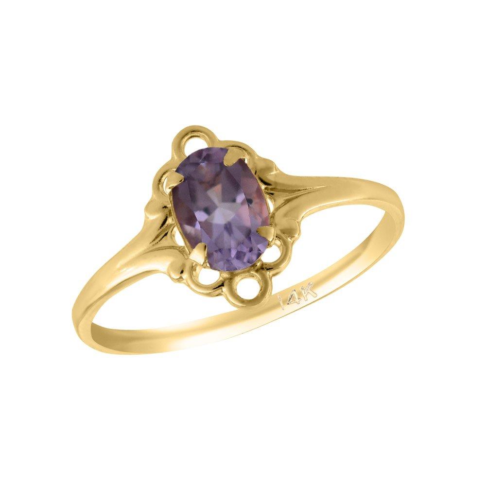 Girl 14K Yellow Gold Oval Shape February Birthstone Genuine Amethyst Ring (size 5 1/2)