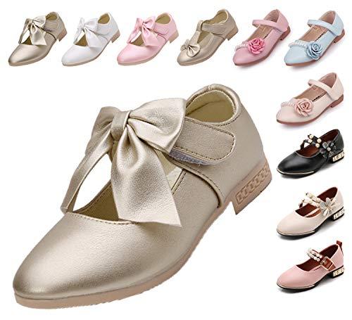 Kikiz Girls Leather Dress Ballet Mary Jane Bow Slip On Flat Shoes (Toddler/Little Kids) 9 M US Toddler ()