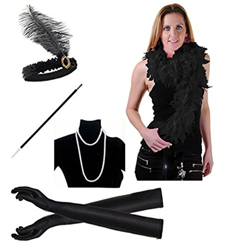 1920s Flapper Girl Dress Headband Accessory Assembly Necklace Gloves Cigarette Holder Scarf 5PCS Gatsby Party (Black)