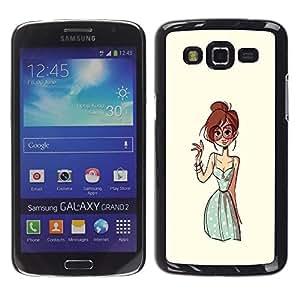 Gafas Chica Pintura Dibujo Moda - Metal de aluminio y de plástico duro Caja del teléfono - Negro - Samsung Galaxy Grand 2