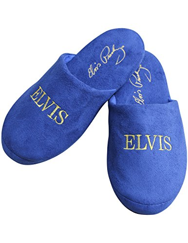 Elvis Shoes (Elvis Presley The King Embroidered Blue Suede Shoes Scuff Slippers One Size)