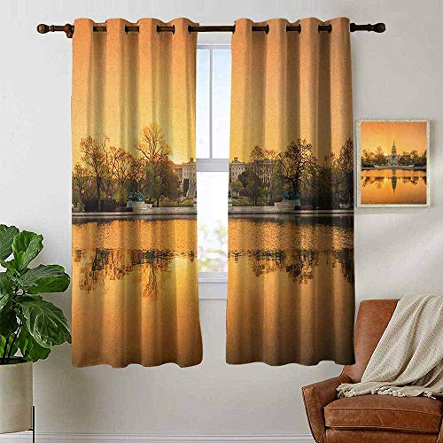 petpany Living Room Curtains United States,Washington DC American Capital City White House Above The Lake Landscape, Apricot Ginger,Adjustable Tie Up Shade Rod Pocket Curtain 42