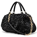 MG Collection CHANDRA Black Sequined Chain Tote Style Evening Shoulder Bag