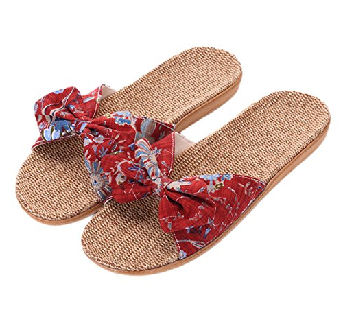Cotton Slippers Non Red B Flax Casual Womens Home Wine Indoor Slip Sandals Cozy xsby qwtxfYUp0