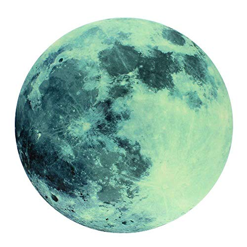 - Moonlight Glow in the Dark Moon Wall Decal Sticker Decorative Removable Wall Decals Stickers, STRONG ADHESIVE VINYL 0.43 mm thickness for Bedroom and Children's Room 8 inch diameter, (20 cm)