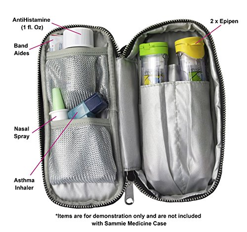 PracMedic- Epipen Carrying Case or Insulin Case - Premium Quality with YKK Zipper - fits Epi Pens, generic Benadryl, Asthma Inhaler, Nasal Spray, Eye Drops, Syringes, Vials, Ice Packs - Orange by PracMedic Bags (Image #1)