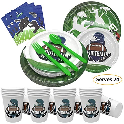 Best Buy! Football Party Supplies Disposable Tableware Set-Includes Plates,Cutlery,Cup,Napkins (Serv...