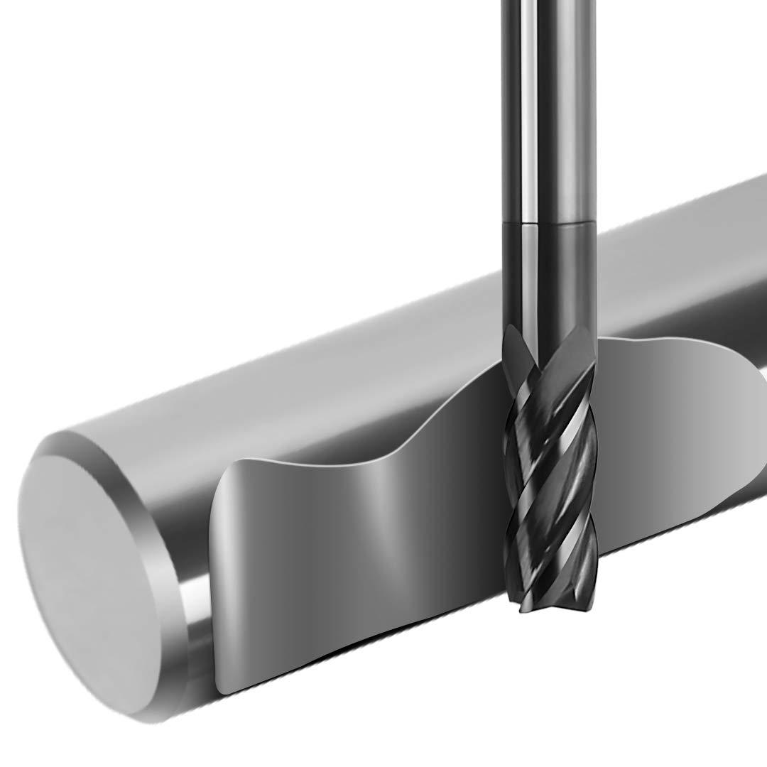 Juego de 8 molinillos de acero de tungsteno CNC con v/ástago recto de 4 flautas herramienta cortadora de fresado CNC 2 12 mm