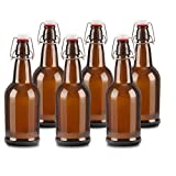 6 pack 16oz Amber Glass Beer Bottles with Easy Wire Swing Cap & Airtight Rubber Seal. Perfect for Home Brewing Wine.