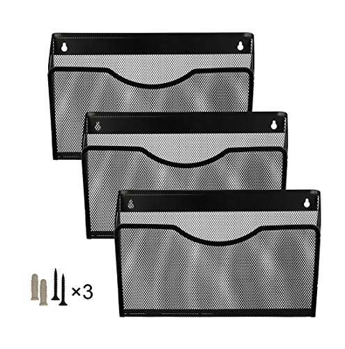 (Denozer Office Wall File Holder Mount Hanging Organizer Magazine Rack 3 Pack Single Pocket,Black)