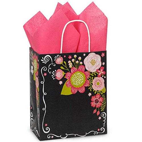 Chalkboard Flowers Paper Shopping Bags - Cub Size - 8 x 4 3/4 x 10 1/2in. by NW