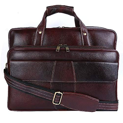 (HiLEDER 100% Pure Genuine Leather 15.5 inches Briefcase Laptop Messenger Satchel Office Travel Bag Spacious Stylish, Deep Brown)
