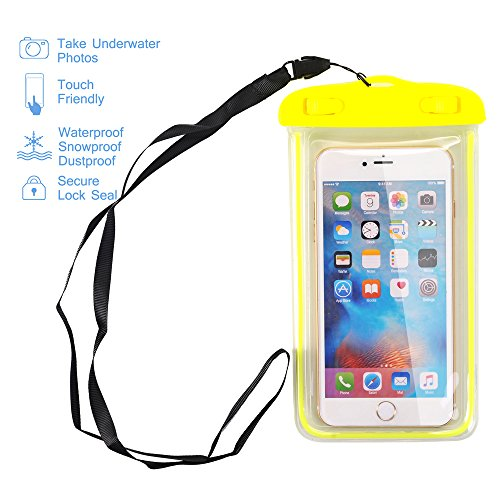 OON Universal Clear Waterproof Cellphone Case - Best Waterproof, Dustproof, Snowproof Bag for iPhone, Samsung Galaxy, LG and Other Smartphones up to 5.5 Inch (Yellow) ()