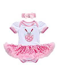 Baby Girl 1st Easter Eggs Bunny Romper Princess Party Dress Cotton Bodysuit Costume