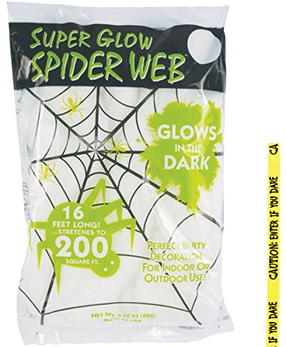 (Potomac Banks Bundle: 2 Items - 60 Gram Super Glow Glow-in-The-Dark Spider Web and Free Caution Tape Chosen at Random (Comes with Free How to Live Stress Free)