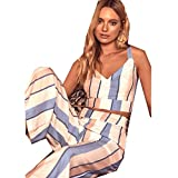 Summer Women's New Color Strip Wide Leg Pants Sleeveless Vest Two-Piece