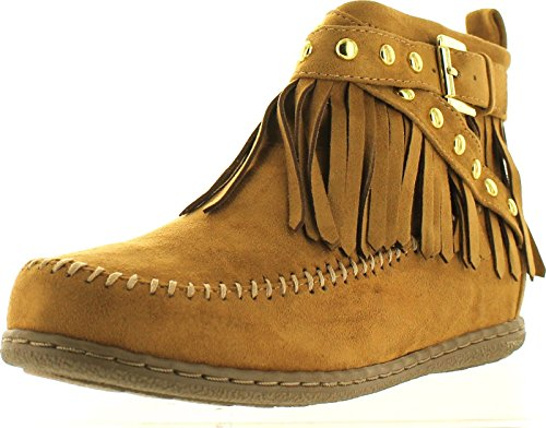 SODA Womens Dahlia Faux Suede Moccasin Fringe Wedge Ankle Booties