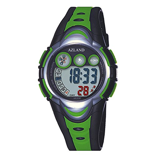 AZLAND Waterproof Swimming Led Digital Sports Watches for Children Kids Girls Boys,Rubber strap,Green