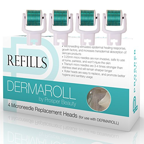 Derma Roller Microneedle 4 Piece Refill Only Kit [DERMAROLL REFILLS by Prosper Beauty] Face Roller Replacement Extra Dermaroller Heads Exfoliation Microdermabrasion Micro Derma Dermapen Microneedling ()