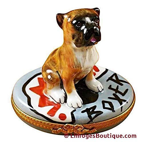 BOXER ON GRAY BASE DOG - LIMOGES PORCELAIN FIGURINE BOXES AUTHENTIC IMPORTS ()