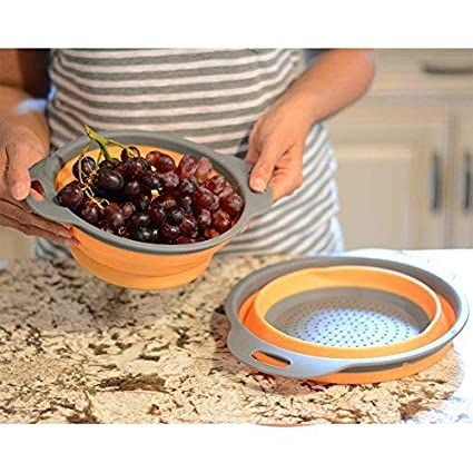 2 Tama/ños Enko Coladores Cocina Respetuosos del Medio Ambiente no T/óxico F/ácil de Limpiar Cocina Plegable Colador de Silicona Incluyendo 8 Pulgadas y 9,5 Pulgadas. Green
