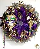 Mardi Gras Wreath Extra Large With Venetian Mask and Fleur De Lis Handmade Deco Mesh
