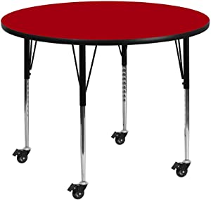Flash Furniture Mobile 42'' Round Red Thermal Laminate Activity Table - Standard Height Adjustable Legs