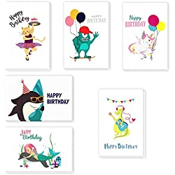 Happy Birthday Greeting Cards, Children Birthday Cards, Happy Birthday Greeting Cards Assortment for Kids Variety Pack, Bulk Box Set with Brown Kraft Paper Envelopes Included, 4x6 Inches - 36 Pack