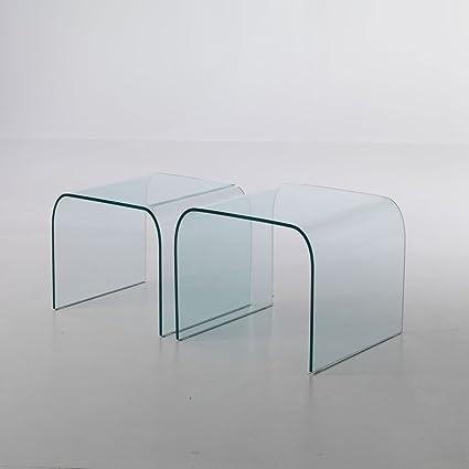Tavolini In Vetro Curvato.Coppia Di Tavolini In Vetro Curvato Manhattan