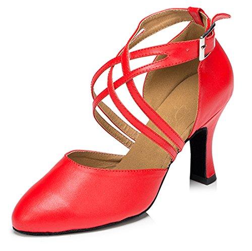 Salsa Heel Ankle Round Womens Wrap Toe Ballroom Shoes Dance Latin Leather Red Buckle Modern Tango 8cm TDA Wedding 0ad5wxqw