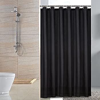 Sfoothome Fabric Shower Curtain Small Size Waterproof And Mildew Free Bath Curtains Black 3672Inch