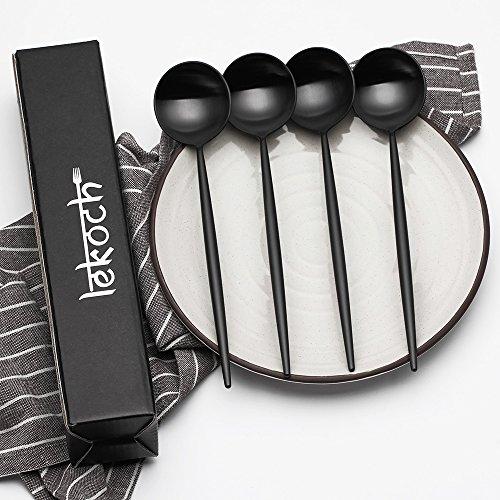 LEKOCH 7 Inches Stainless Steel Appetizer / Salad / Dessert Spoon Set Of 4 (Black) by Lekoch (Image #4)