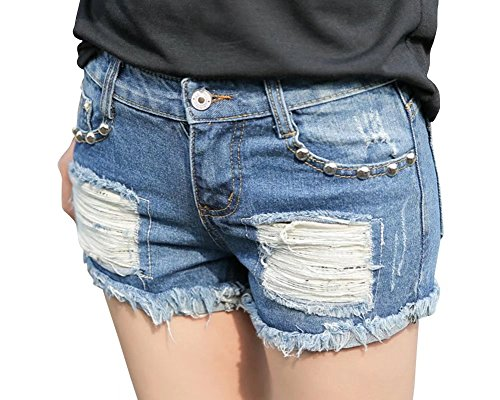 Wxian Women's Classic Ripped Hole Denim Shorts Secret Fit Belly Cuffed Short