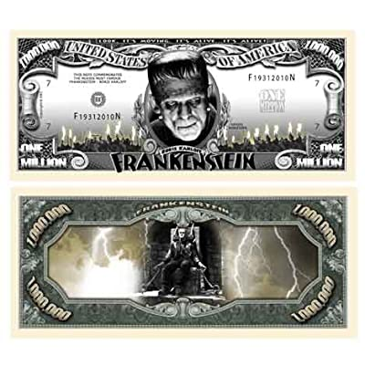 American Art Classics Pack of 5 - Frankenstein Million Dollar Bills - Fun Halloween Novelty Bill: Toys & Games