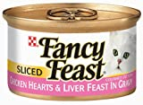 Fancy Feast Gourmet Cat Food, Sliced Chicken Hearts and Liver Feast in Gravy, 3-Ounce Cans (Pack of 24), My Pet Supplies