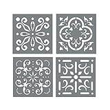 tile floor patterns Mexican Tile Stencil Set - Pack of Four 6x6 Tile Stencil Designs for Painting - Wall or Floor Tile Stencil Designs - for Making Mosaic Tile Stencil Patterns