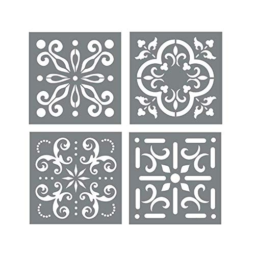 Mexican Tile Stencil Set - Pack of Four 8x8 Tile Stencil Designs for Painting - Wall or Floor Tile Stencil Designs - for Making Mosaic Tile Stencil Patterns ()